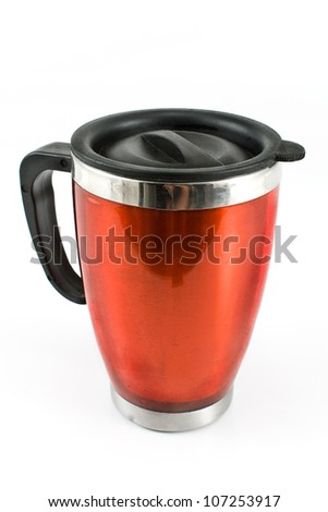 Red thermos for coffee isolated on white - stock photo