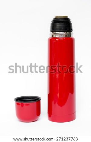 Red thermos travel tumbler - stock photo