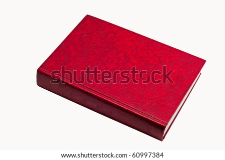 Red thick book, leather skin cover - stock photo