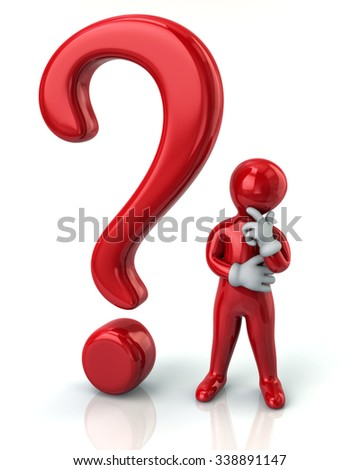 Red thinking man and question mark isolated on white background - stock photo