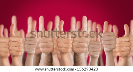 red thumbs up background shiny - stock photo