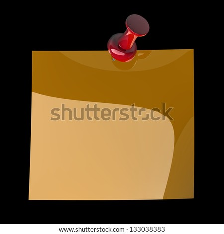 Red thumbtack isolated on black background. High resolution. 3D image - stock photo
