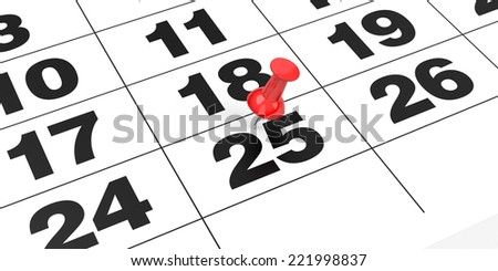 Red thumbtack on the number 25, white background. - stock photo