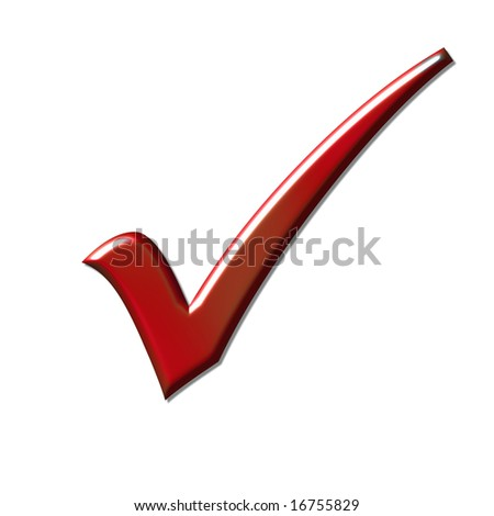 Red tick isolated over white - stock photo