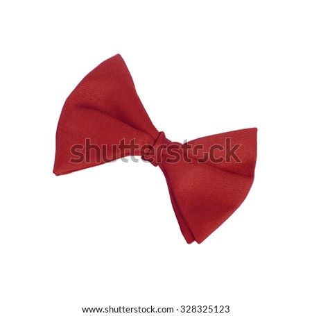 Red tie-bow isolated on white - stock photo