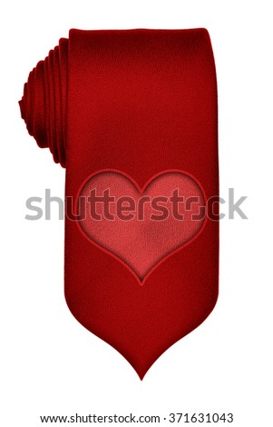Red tie with heart isolated on white with clipping path, valentine concept - stock photo