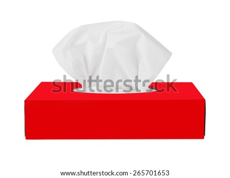 Red tissue box isolated on a white background - stock photo