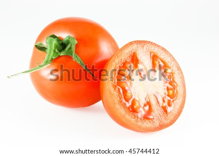 red tomato an white background - stock photo