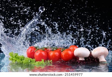 Red tomato cherry, mushrooms and green fresh salad with water drop splash - stock photo