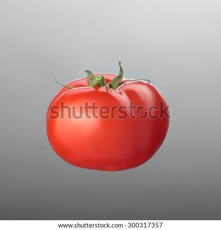 red tomato isolated on white - stock photo