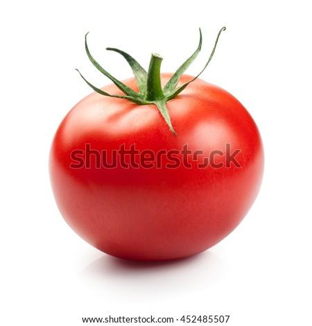 Red tomato isolated on white background - stock photo
