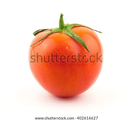 Red tomato isolated on white background / Tomato branch / seamless perfect close-up studio clipping object / market fresh natural diet food / cherry tomatoes - stock photo