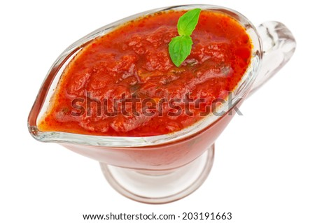 red tomato sauce on white background - stock photo