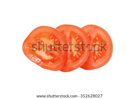 Red tomato slices isolated on white - stock photo