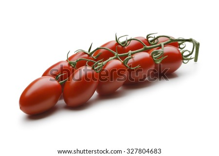 Red tomatoes cluster on white background - stock photo
