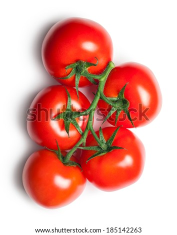 Red tomatoes on white background. Top view - stock photo