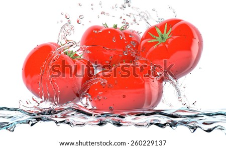 red tomatoes with water splashes, concept of freshness (3d render) - stock photo