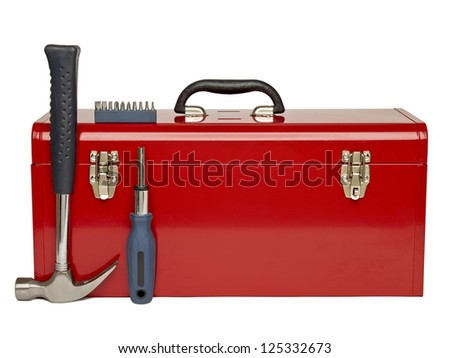 Red tool kit and tools arrange over a white background - stock photo