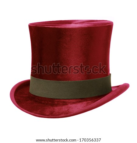Red Top Hat with brown band, isolated against white background - stock photo