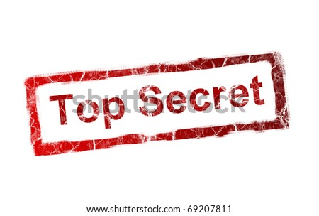 Red top secret stamp on white background - stock photo