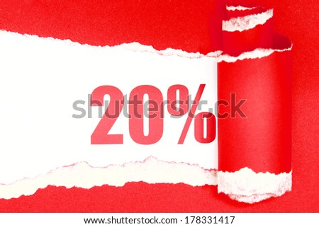Red torn paper with 20 percent - stock photo