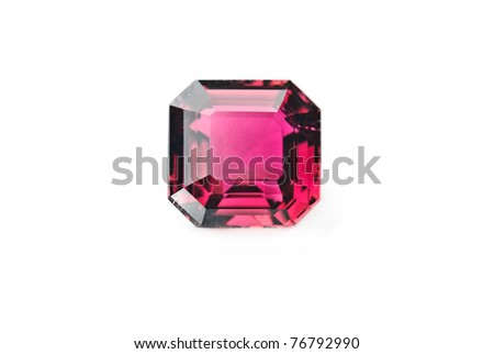 red tourmaline jewel, precious gemstone isolated against a white background - stock photo