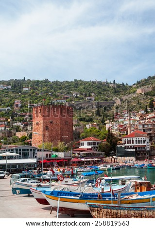 Red Tower - main tourist attraction in Alanya - stock photo