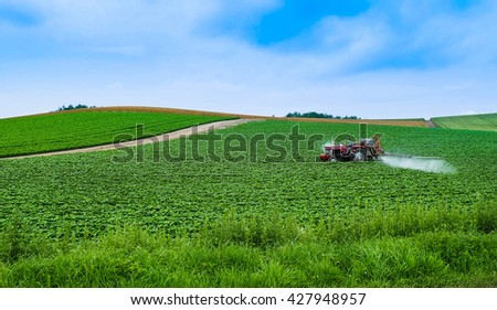 Red tractor spray pesticide on potato field with blue sky background - stock photo