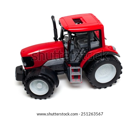 red tractor toy isolated on white background - stock photo