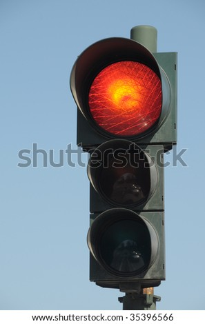 Red traffic light - stock photo