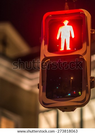 Red traffic light, for pedestrians, Japan - stock photo