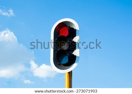 Red traffic light in South Africa - stock photo