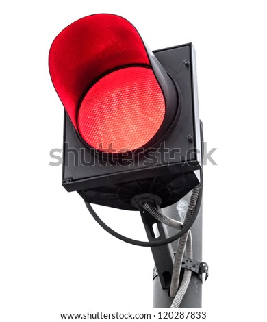 Red traffic light isolated on white - stock photo