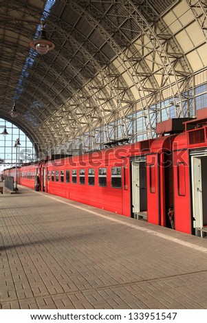 Red train on a station in Moscow, Russia - stock photo