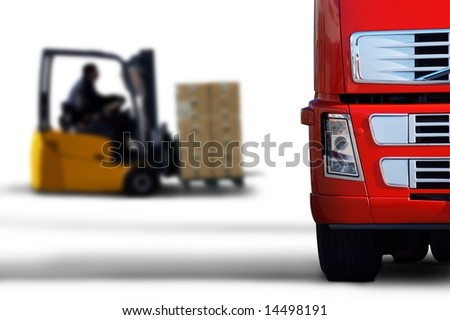 red transport - stock photo