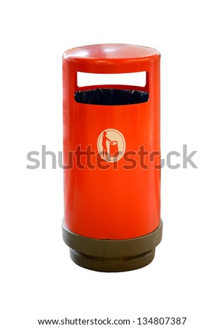 Red trash can on white background - stock photo