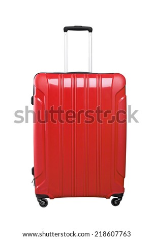 Red travel bag isolated on white background. - stock photo