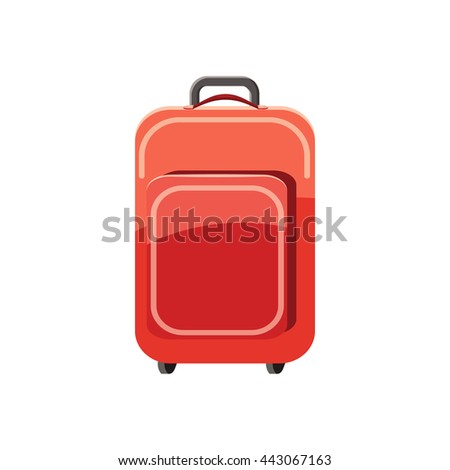 Red travel suitcase icon in cartoon style on a white background - stock photo