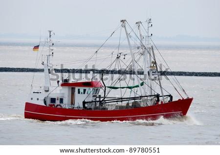 Red Trawler - stock photo