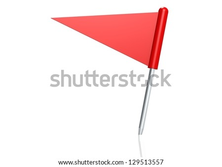 Red triangle flag pin - stock photo