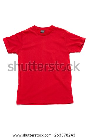 Red tshirt template ready for your own graphics. - stock photo