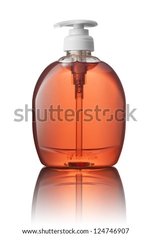 Red tube bottle of shampoo, conditioner, hair rinse, gel, soap, on a white background with reflection. - stock photo