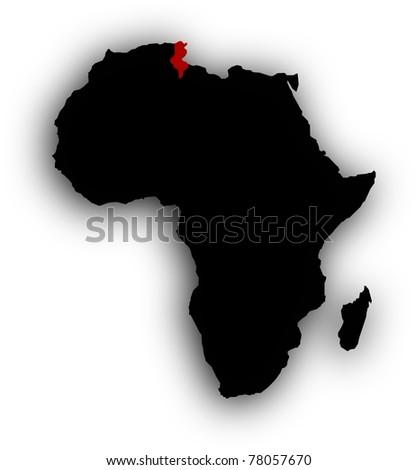 Red Tunisia in black Africa - stock photo