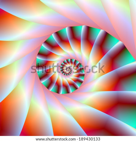 Red Turquoise and Pink Spiral Steps / Digital abstract fractal image with a spiral step design in red, turquoise and pink. - stock photo