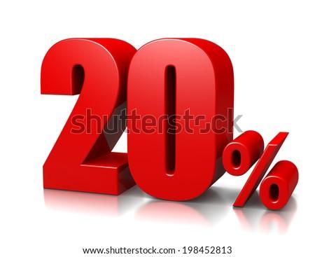 Red Twenty Percent Number on White Background 3D Illustration - stock photo