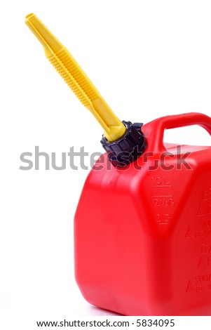 Red Two Gallon Gas Can Ready For Emergency use - stock photo