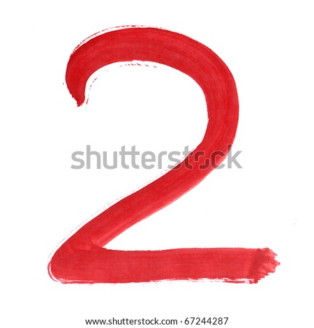 Red two isolated on white background. Number 2 painting stroke sketch. One from collection set. - stock photo