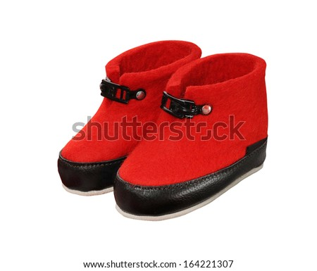 red uggs on white background  - stock photo
