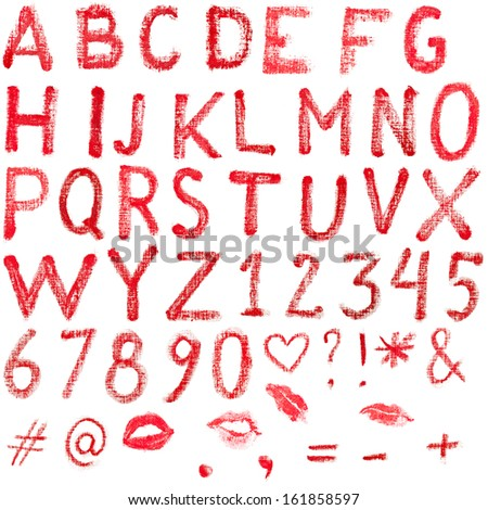 Red, uppercase lipstick alphabet made of capital letters. Whole alphabet, signs and lips marks isolated on white. - stock photo