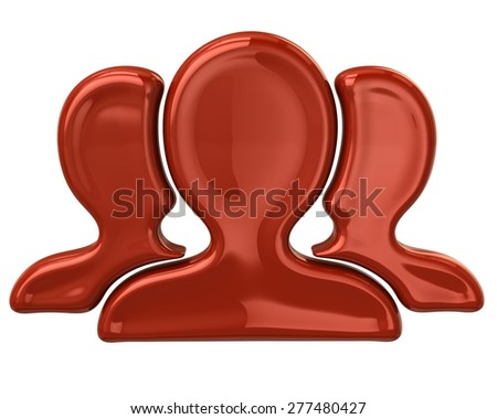 Red user group icon  - stock photo